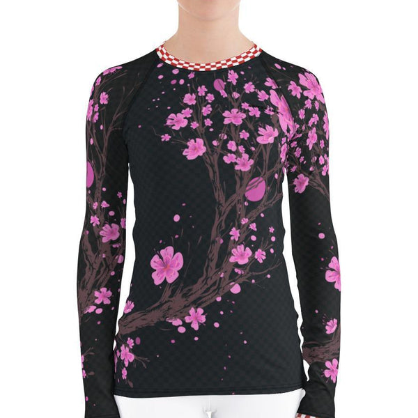 Midnight Cherry Blossom Women's Rash Guard T-Shirt - thiennas-sweet-life