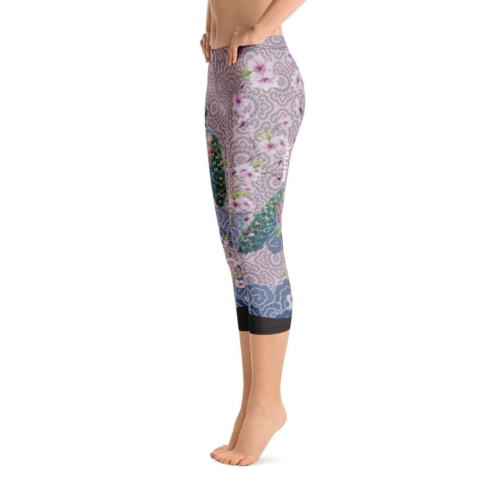 Peacock on Blue Clouds Capri Leggings - thiennas-sweet-life