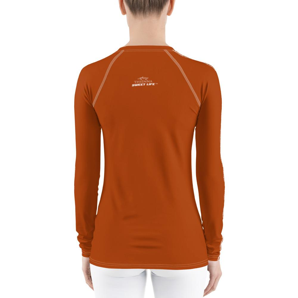 Orange Women's Rash Guard T-Shirts (Solid Color) - thiennas-sweet-life