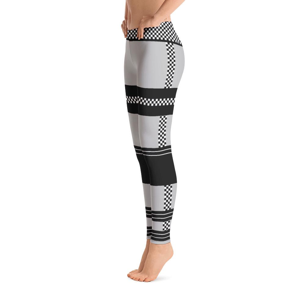 Gorgeous Checkered Stripes on Gray Leggings - thiennas-sweet-life