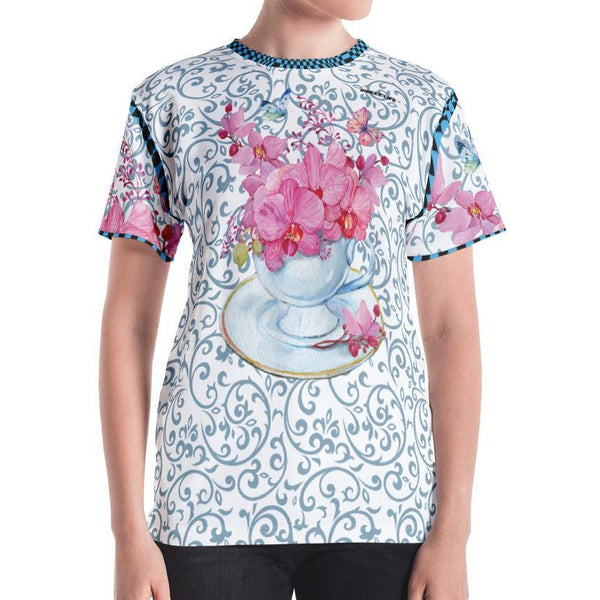 A Cup of Orchid Women's Crew Neck T-Shirt - Thienna's Sweet Life