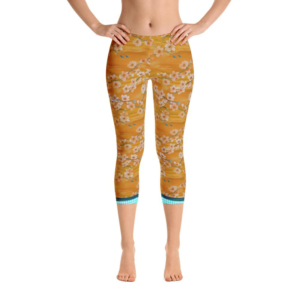 Sunset Cherry Blossoms Capri Leggings - Thienna's Sweet Life