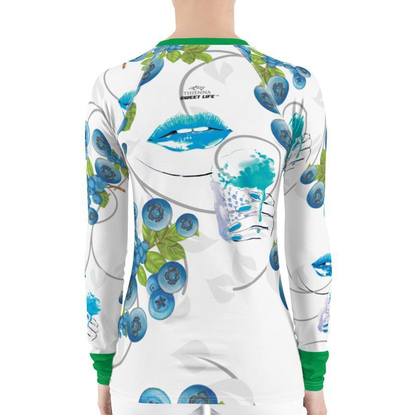 Luscious Lips and Blue Berry Ice Cream Women's Rash Guard T-Shirts - thiennas-sweet-life