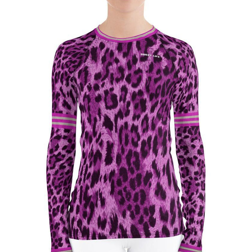 Pink Raspberry Leopard Women's Rash Guard T-Shirts - Thienna's Sweet Life