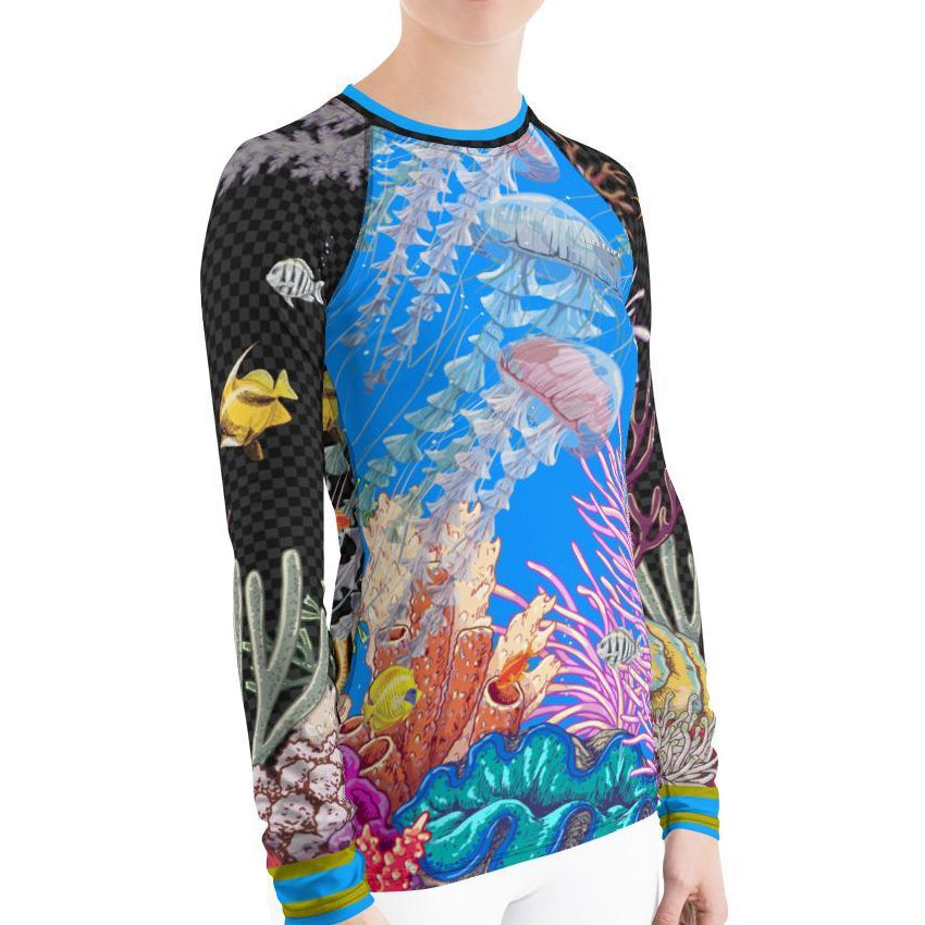 Beautiful Ocean Life (Jellyfish and Fish) Women's Rash Guard T-Shirt - Thienna's Sweet Life