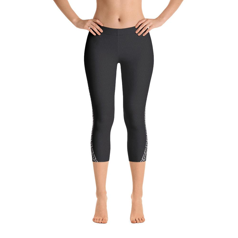 Dark Gray Capri Leggings with Sweet Life Side Bands - thiennas-sweet-life
