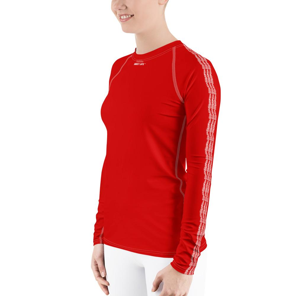 Strawberry Red Women's Rash Guard T-Shirts (Solid Colors) - thiennas-sweet-life