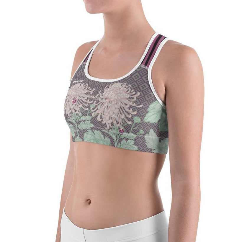 Chrysanthemum Flowers Sports Bras - thiennas-sweet-life