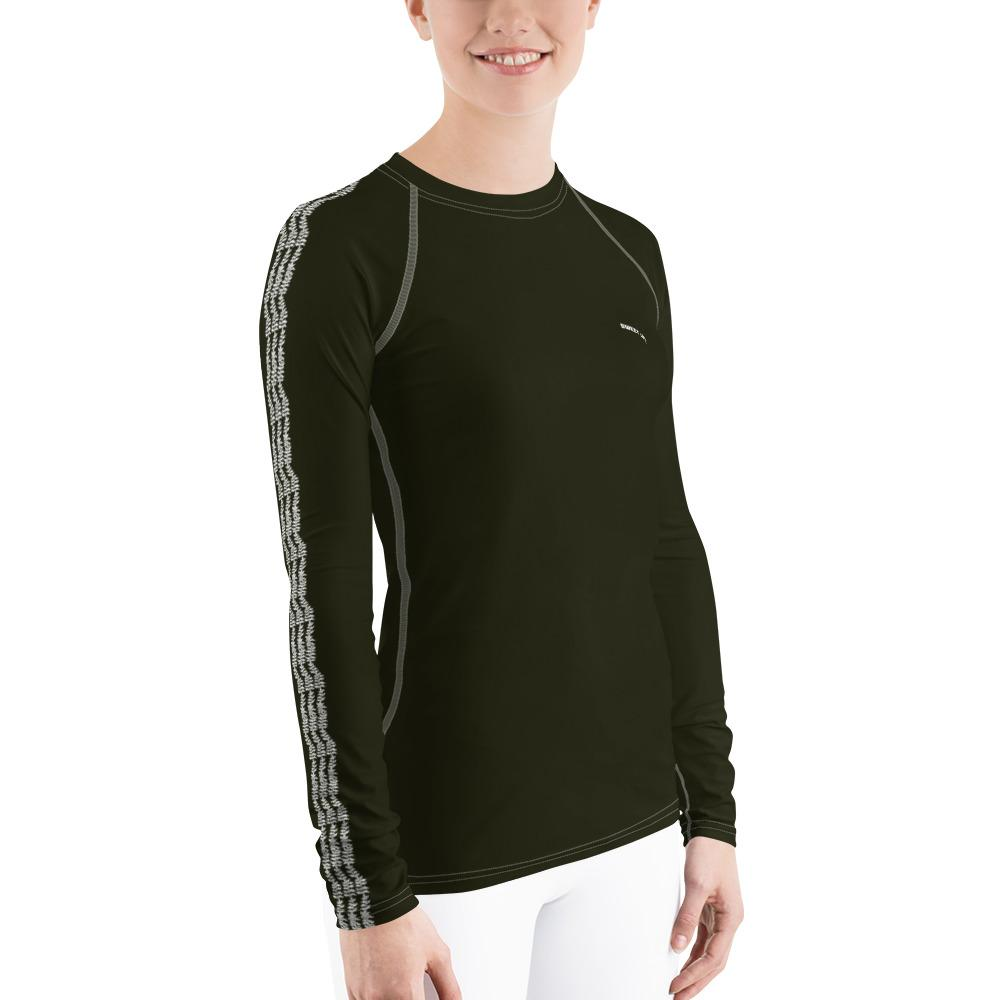 Dark Olive Green Women's Rash Guard T-Shirts (Solid Color) - thiennas-sweet-life