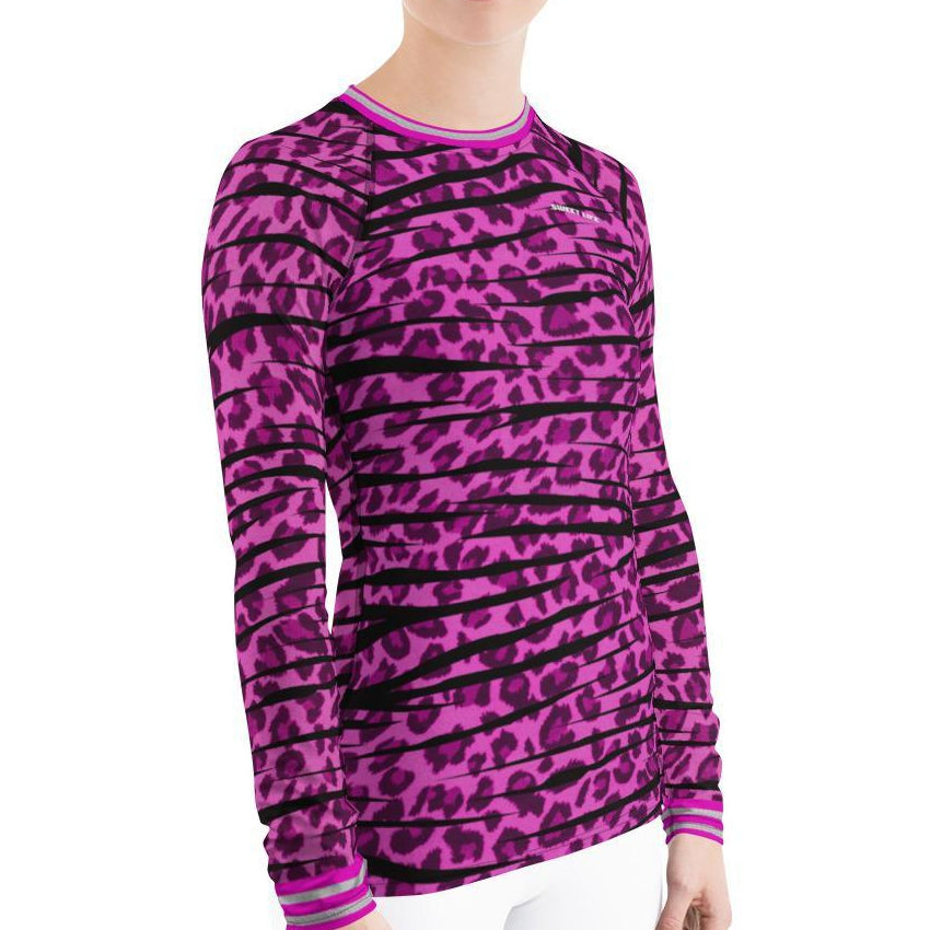 Pink Leopard Women's Rash Guard T-Shirts - thiennas-sweet-life