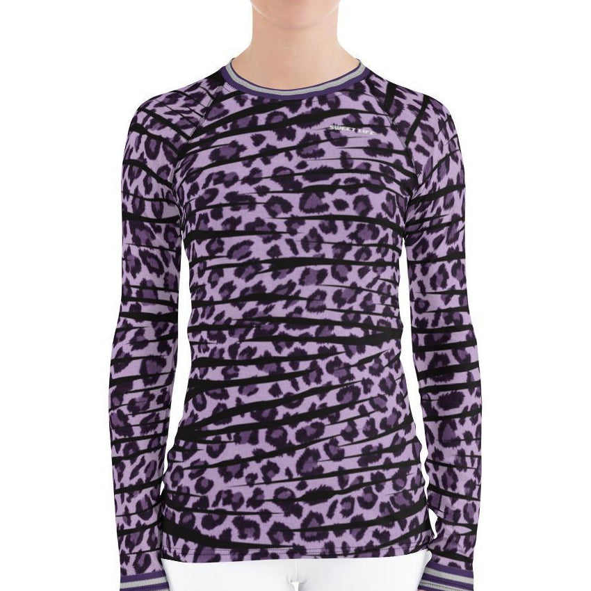 Violet Leopard Women's Rash Guard T-Shirts - Thienna's Sweet Life