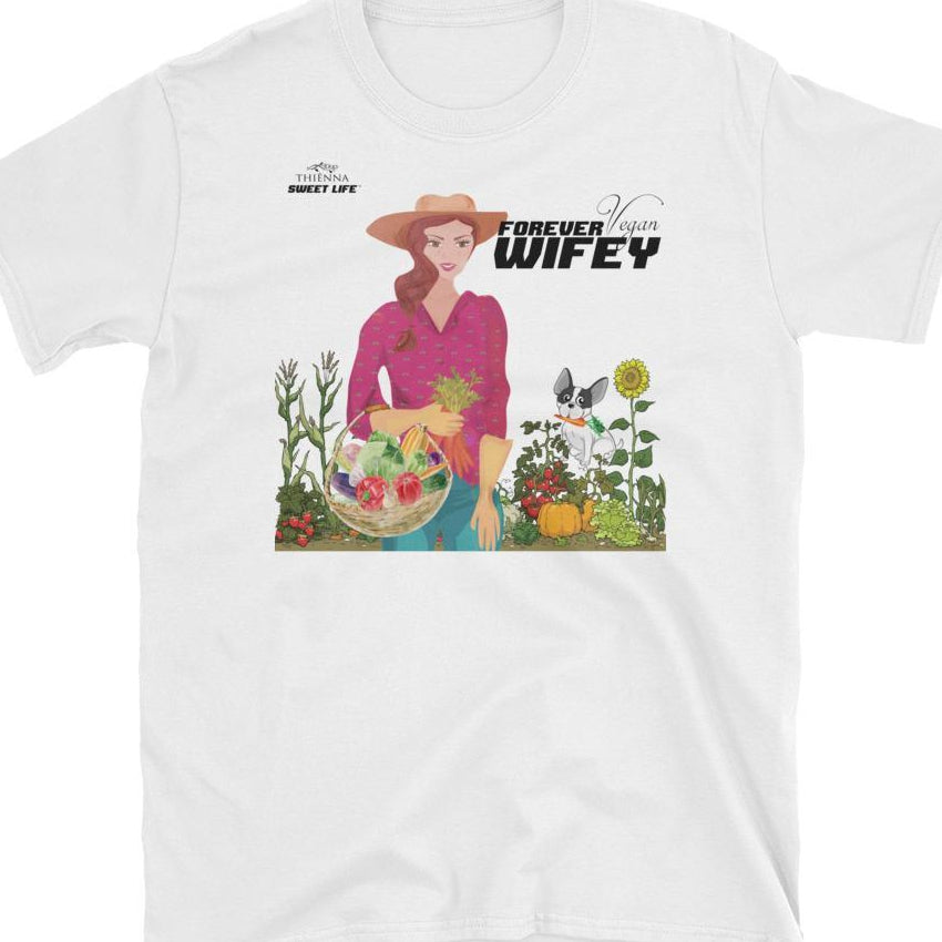 Forever Vegan Wifey Gardening with Fred (The Dog) Short-Sleeve Unisex T-Shirt - thiennas-sweet-life