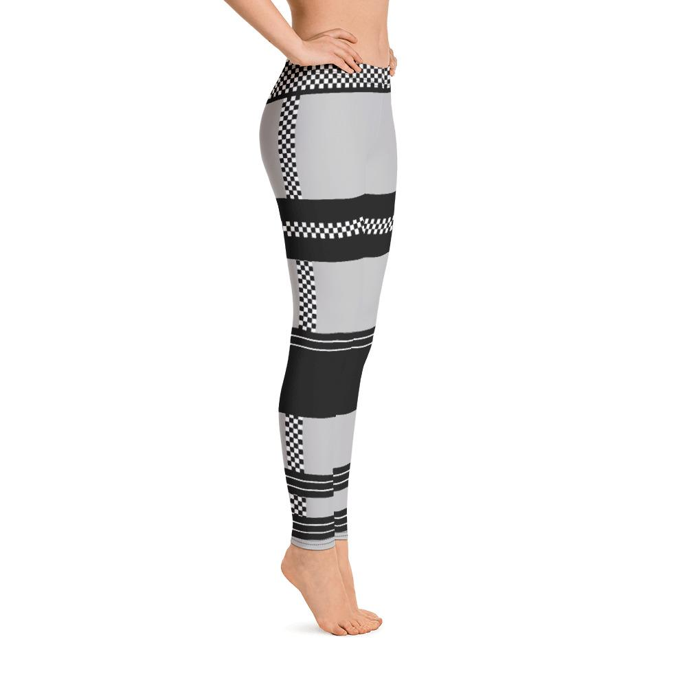 Gorgeous Checkered Stripes on Gray Leggings - Thienna's Sweet Life