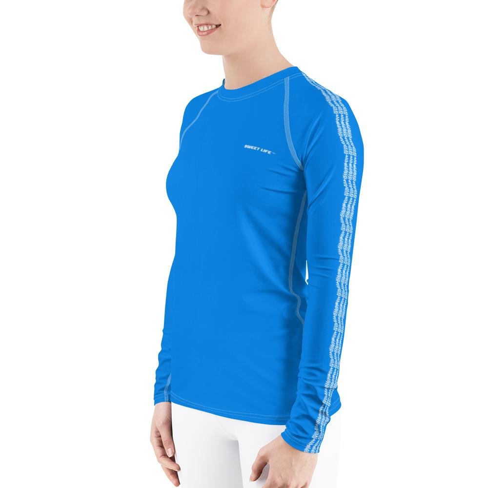 Cornflower Blue Women's Rash Guard T-Shirts (Solid Colors) - thiennas-sweet-life