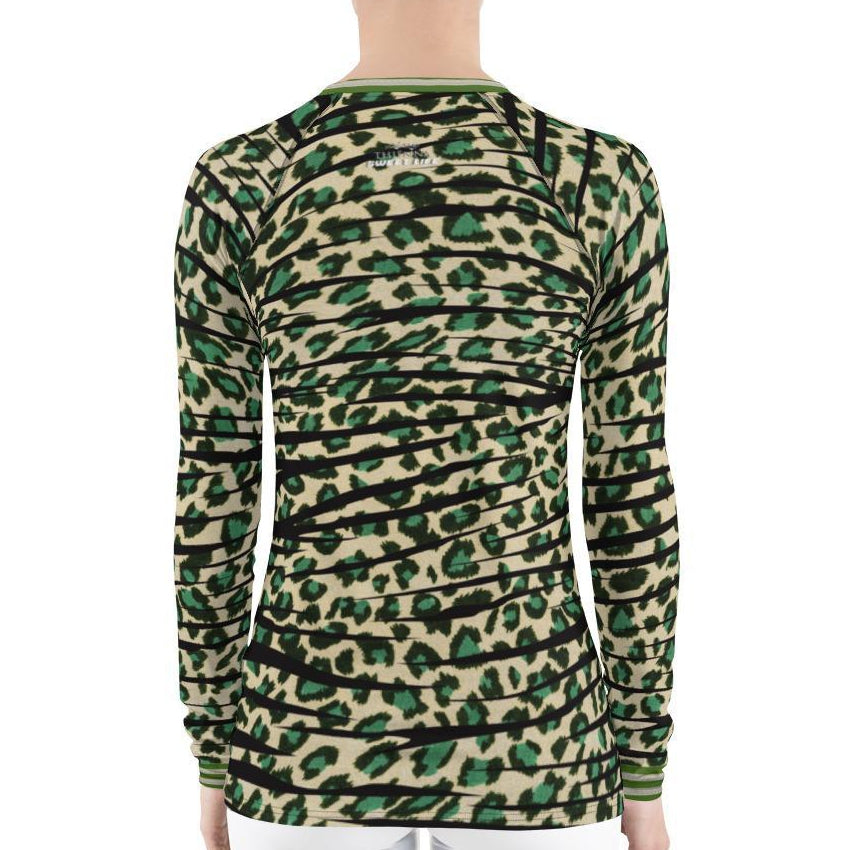 Green Leopard Women's Rash Guard T-Shirts - Thienna's Sweet Life