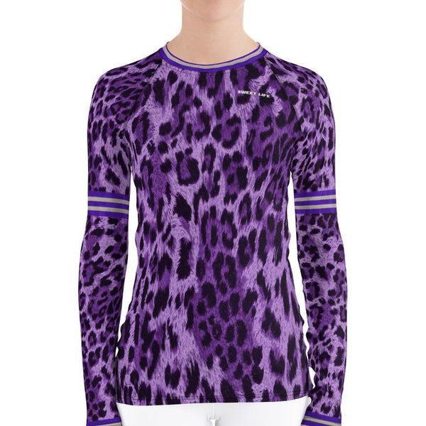 Purple Rain Leopard Women's Rash Guard - thiennas-sweet-life