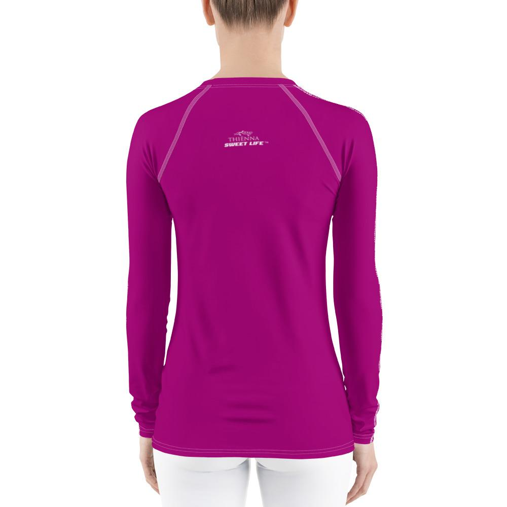 Magenta Pink Women's Rash Guard T-Shirts (Solid Colors) - thiennas-sweet-life