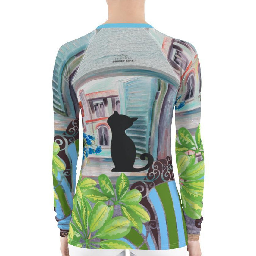 Cute Cat Looking Out of A Window Women's Rash Guard T-Shirts - Thienna's Sweet Life