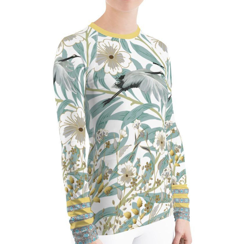 Graceful  Crane Women's Rash Guard T-Shirt - Thienna's Sweet Life