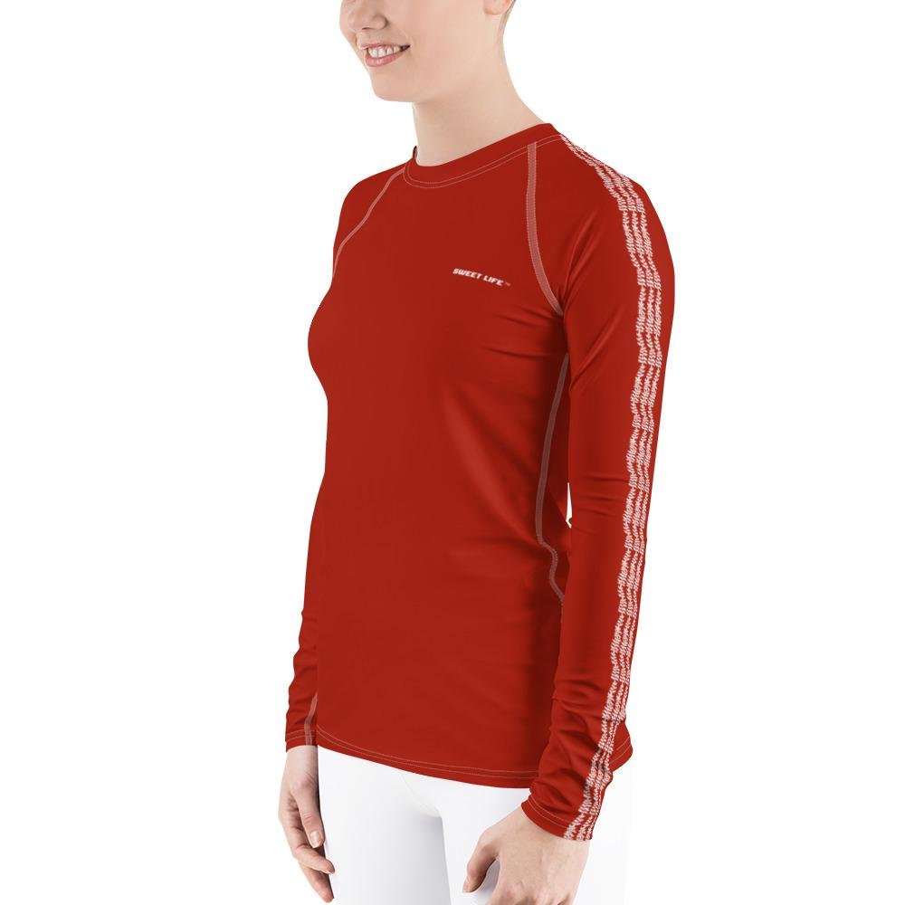 Gorgeous Orange Red Women's Rash Guard T-Shirts (Solid Color) - thiennas-sweet-life