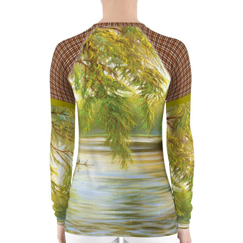 Stunning Country Life with Peaceful Lake Women's Rash Guard T-Shirt - Thienna's Sweet Life