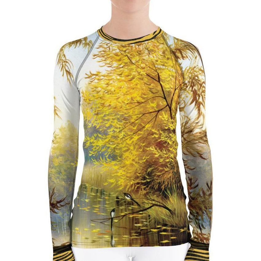 Gorgeous Autumn Forest Women's Rash Guard T-Shirt - Thienna's Sweet Life