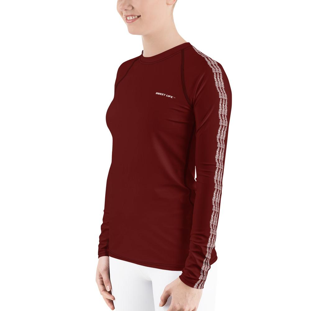 Burgundy Women's Rash Guard T-Shirts (Solid Color) - thiennas-sweet-life