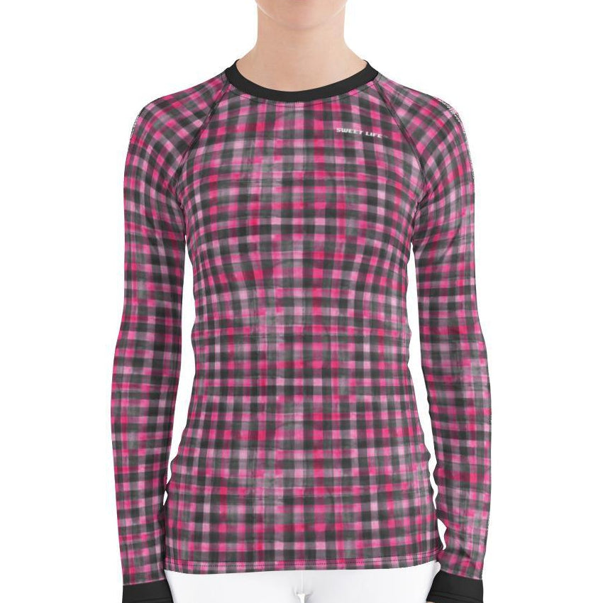 Washout Pink Checker Women's Rash Guard T-Shirts - thiennas-sweet-life