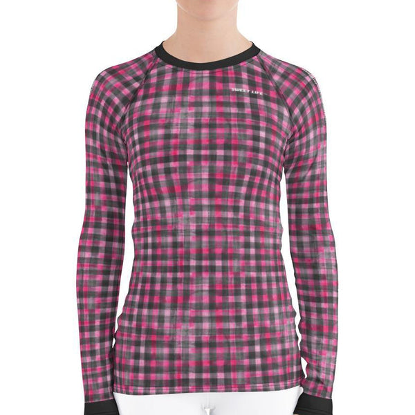 Washout Pink Checker Women's Rash Guard T-Shirts - Thienna's Sweet Life