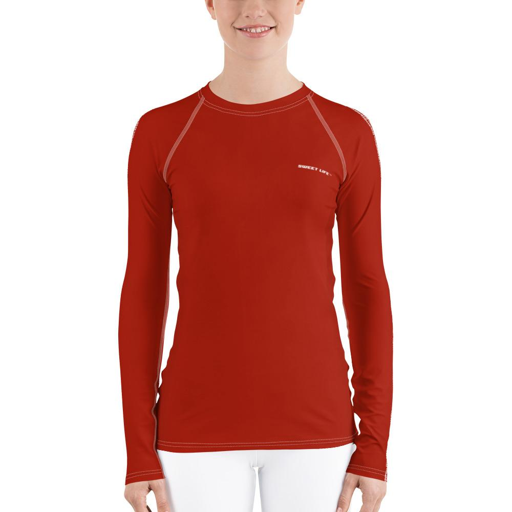 Gorgeous Orange Red Women's Rash Guard T-Shirts (Solid Color) - Thienna's Sweet Life