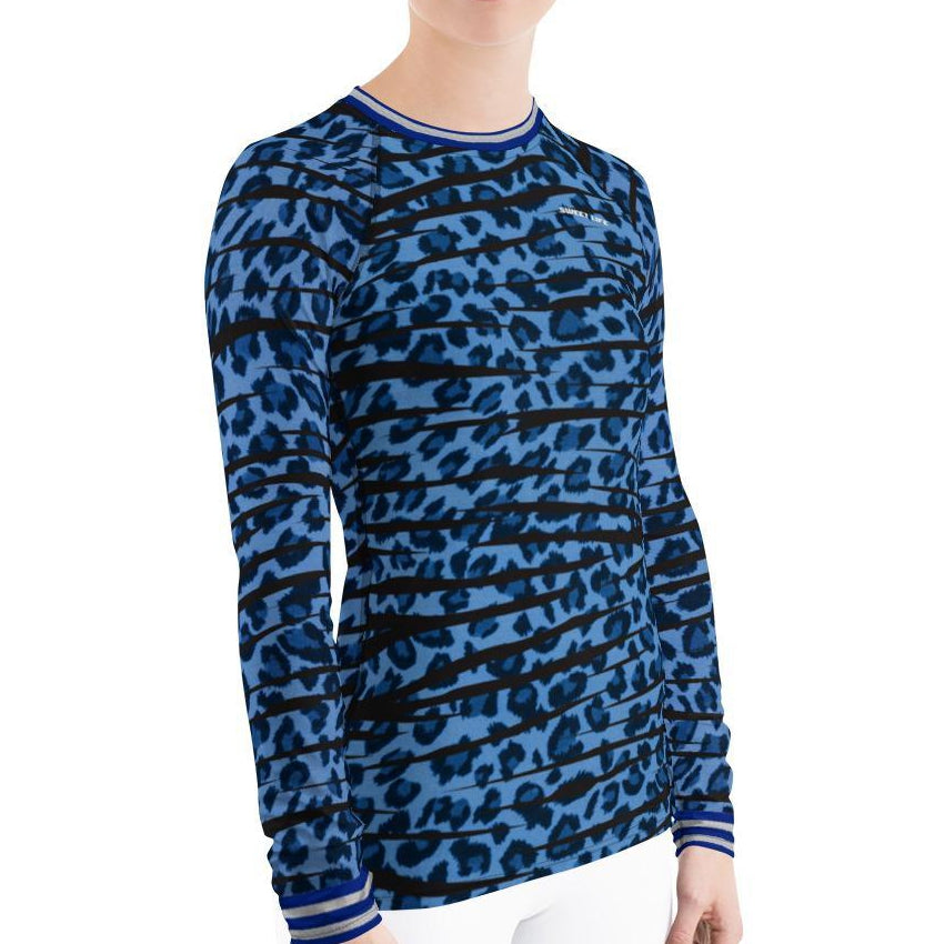 Blue Leopard Women's Rash Guard T-Shirts - Thienna's Sweet Life