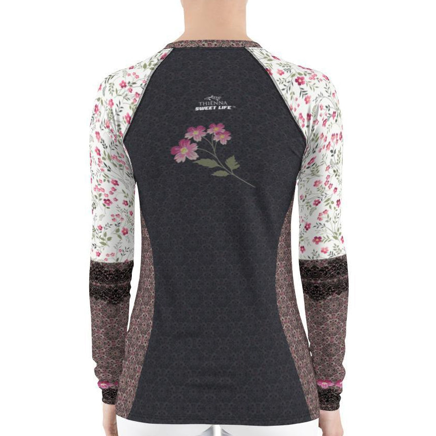 Wild Pint Flowers Women's Rash Guard T-Shirts - Thienna's Sweet Life