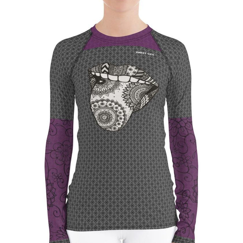 Psychedelic Tongue Women's Rash Guard T-Shirts - thiennas-sweet-life