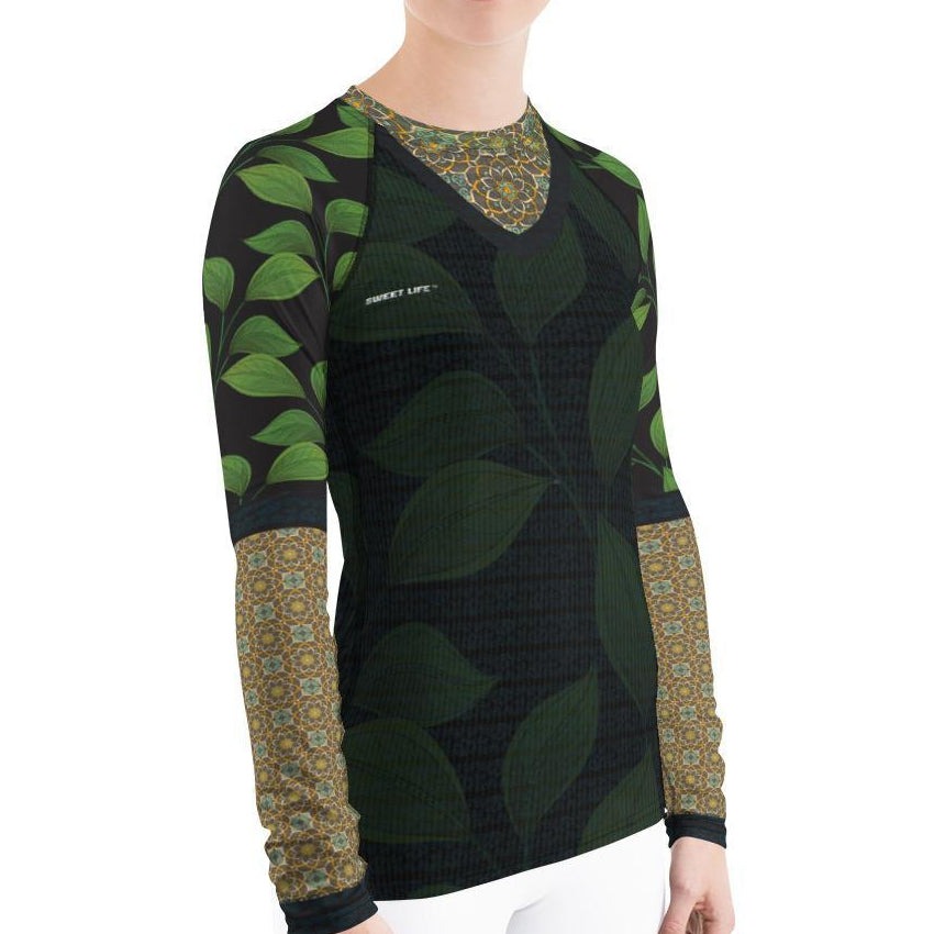 Luscious Green Vines Women's Rash Guard T-Shirts - thiennas-sweet-life
