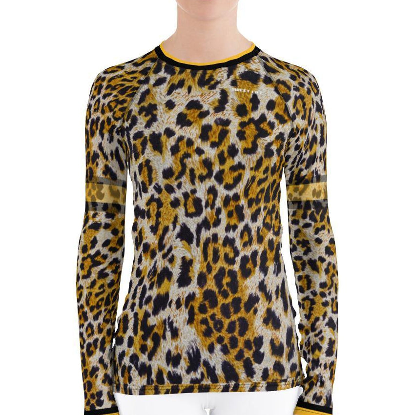 Gold Leopard Women's Rash Guard T-Shirts - thiennas-sweet-life