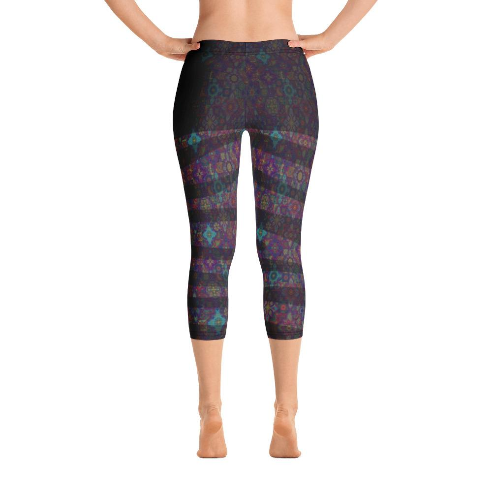 Abstract Blue Diamond Print Capri Leggings - thiennas-sweet-life