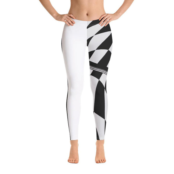 Half Tone Black White Checkered Leggings - Thienna's Sweet Life
