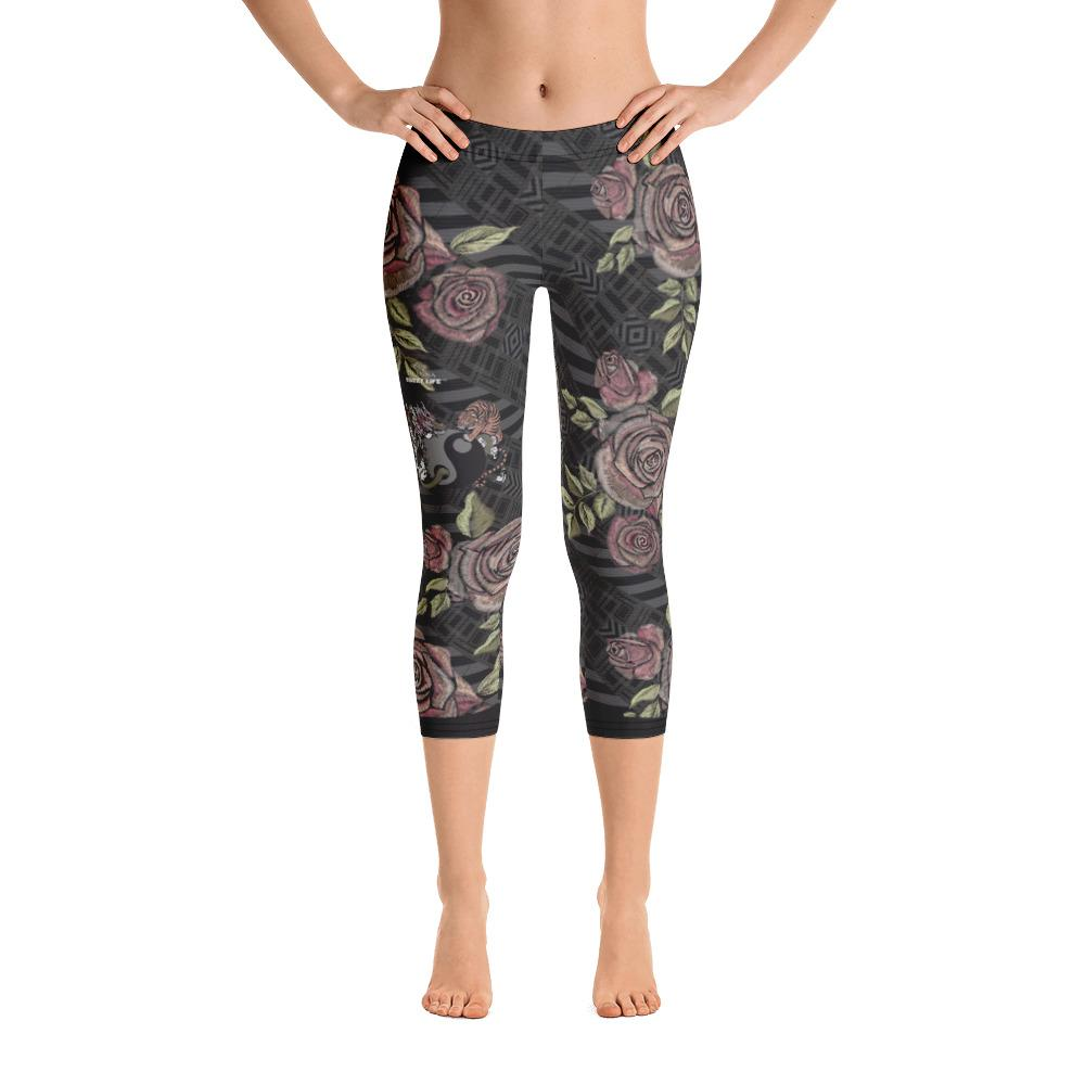 Dragon Tiger Ying Yang in Roses Capri Leggings - Thienna's Sweet Life