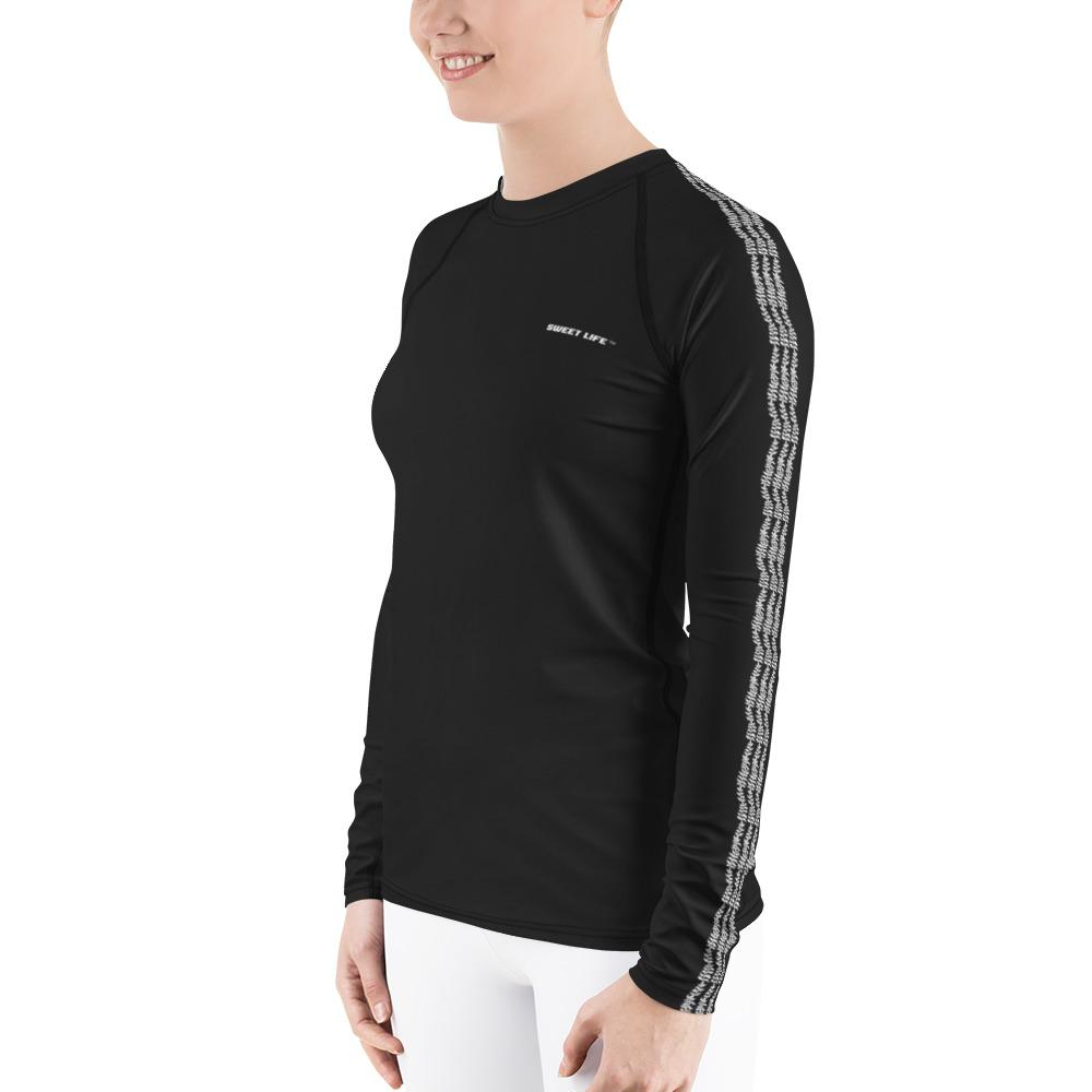 Black Women's Rash Guard T-Shirts (Solid Color) - thiennas-sweet-life