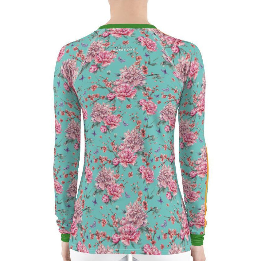 Peony & Cherry Blossoms Women's Rash Guard T-Shirts - thiennas-sweet-life