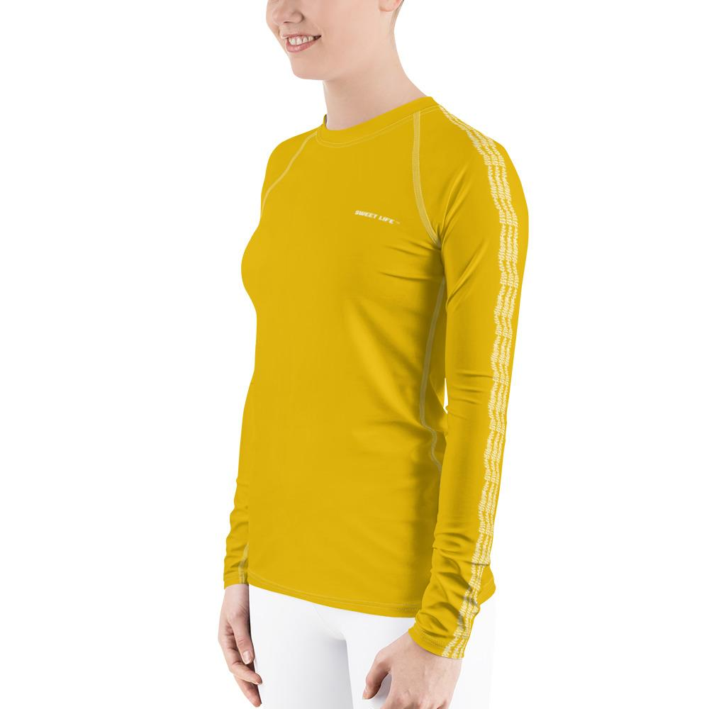 Yellow Tumeric Women's Rash Guard T-Shirts (Solid Colors) - thiennas-sweet-life