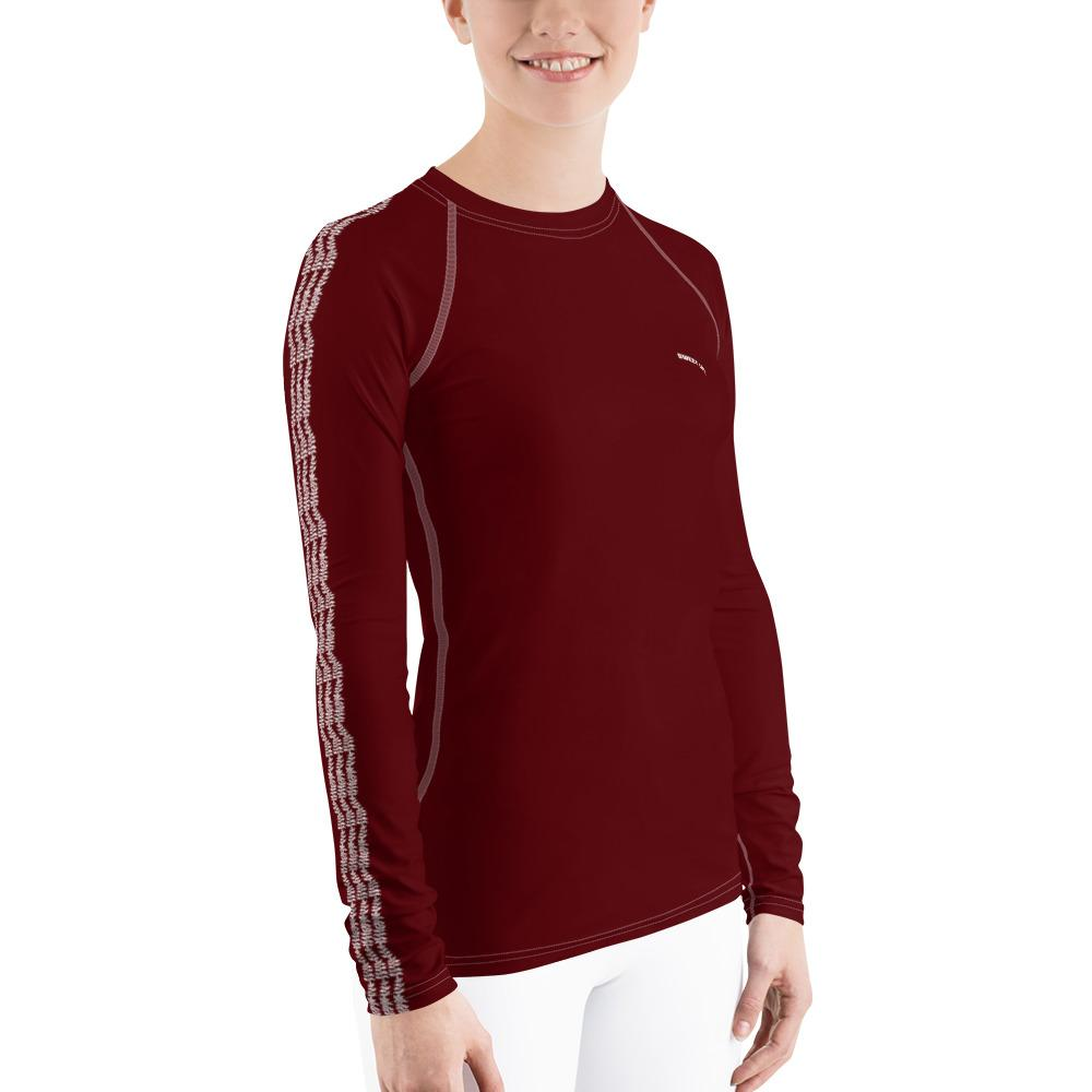 Dark Cherry Women's Rash Guard T-Shirts (Solid Colors) - thiennas-sweet-life