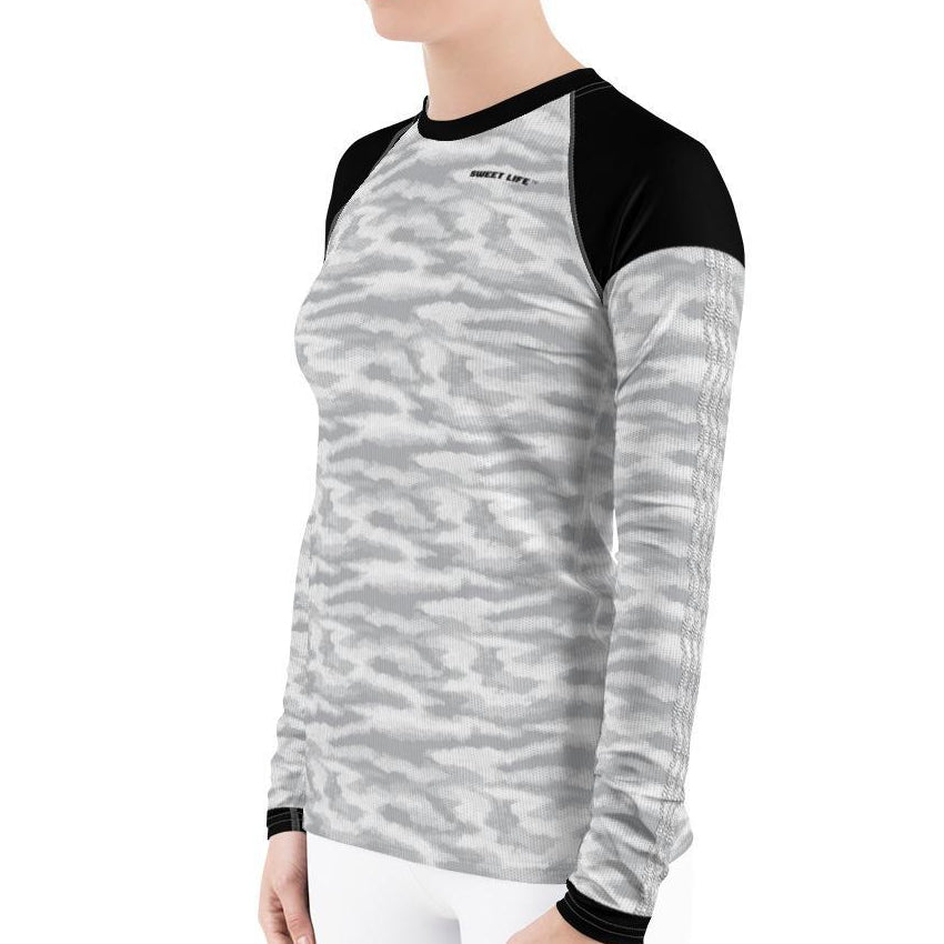 White Grey Camouflage Women's Rash Guard T-Shirts - thiennas-sweet-life