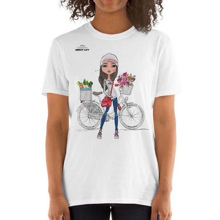 Vegan Girl and Her Chihuahua on Bike Short-Sleeve Unisex T-Shirt - thiennas-sweet-life