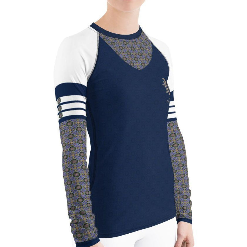 Navy Print Women's Rash Guard - Thienna's Sweet Life