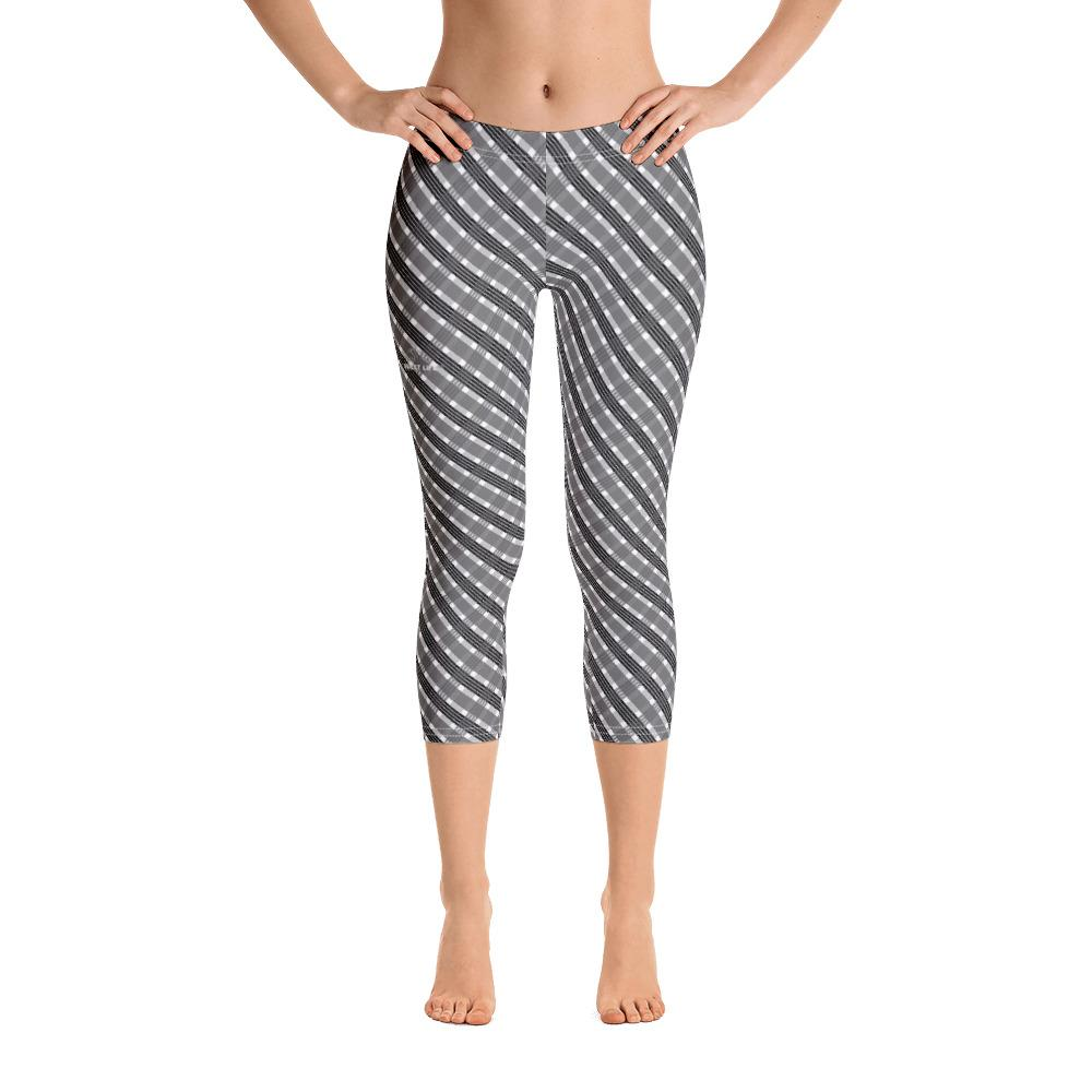 Black and Gray Capri Leggings (Stripes) - thiennas-sweet-life