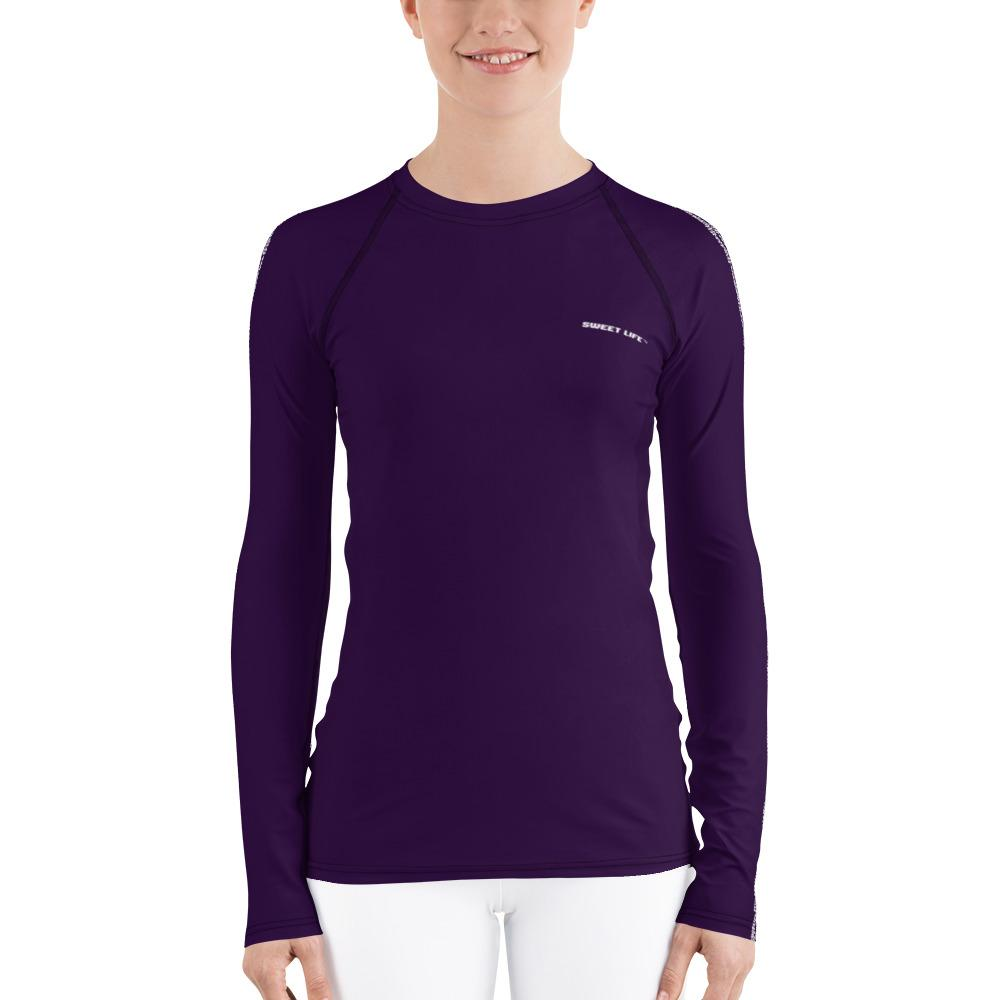 Eggplant Women's Rash Guard T-Shirts (Solid Color) - thiennas-sweet-life
