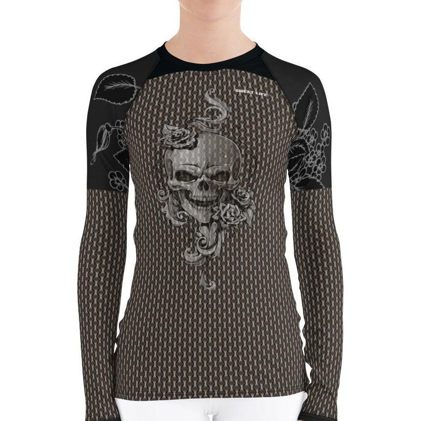 Skull and Roses Women's Rash Guard T-Shirts - thiennas-sweet-life