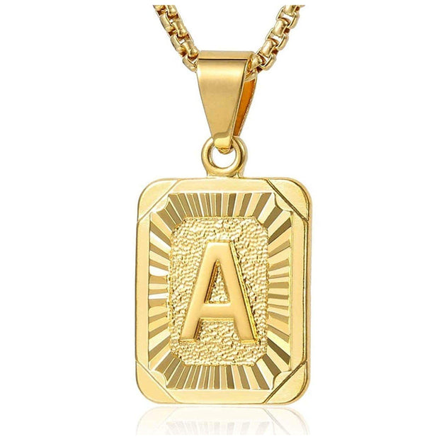 18k Gold Initials Pendant Necklace