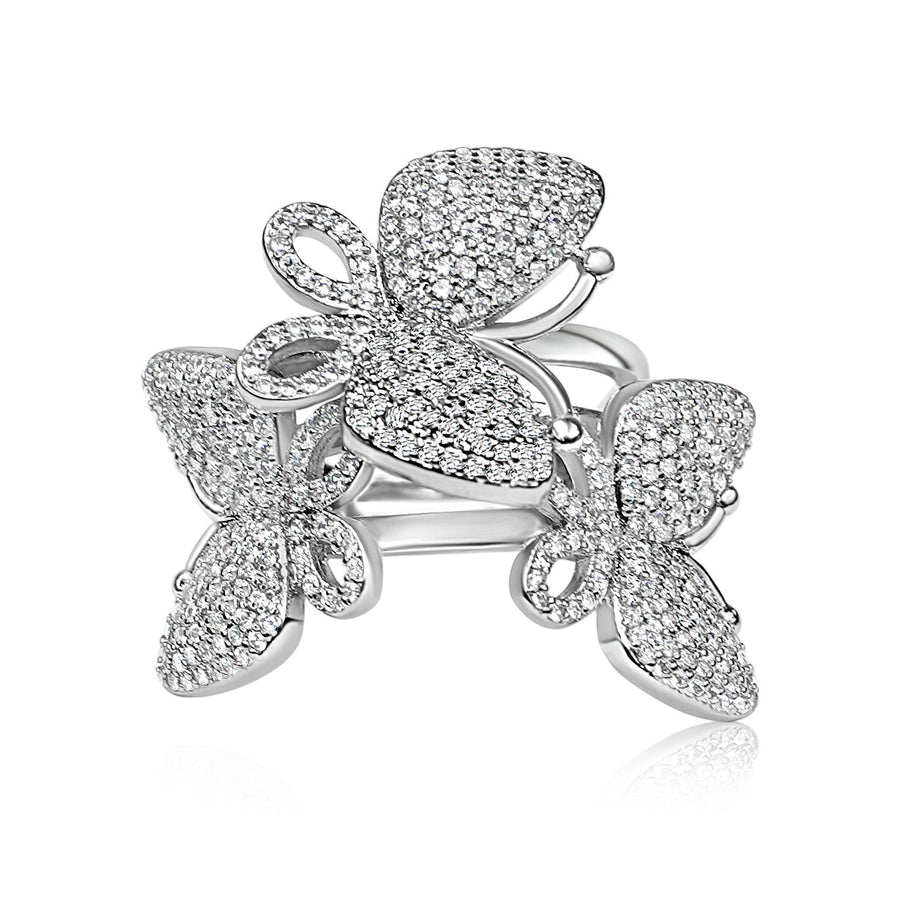 Adjustable Triple Butterfly Ring